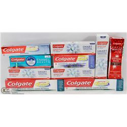 LOT OF 9 ASSORTED COLGATE TOOTHPASTE.