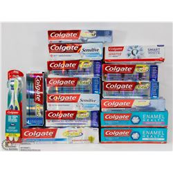 LARGE BAG OF ASSORTED COLGATE TOOTHPASTES.