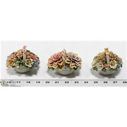 COLLECTION OF 3 VINTAGE BONE CHINA FLORAL ORNAMENT