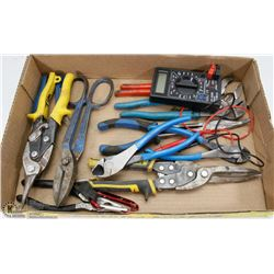 ESTATE BOX OF TOOLS- CHANNEL LOCKS, PLIERS, SNIPS