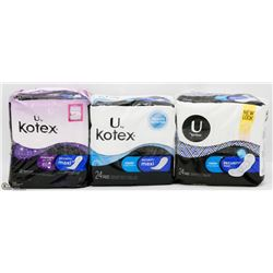 3 ASSORTED PACKS OF KOTEX SECURITY MAXI PADS