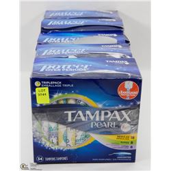 5 BOXES OF TAMPAX PEARL TAMPONS