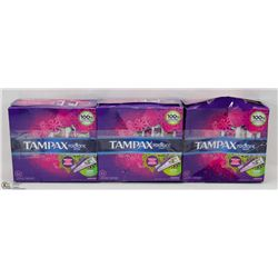 3 BOXES OF TAMPAX RADIANT TAMPONS