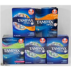 5 BOXES OF ASSORTED TAMPAX PEARL TAMPONS