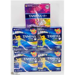 5 ASSORTED BOXES OF TAMPAX TAMPONS