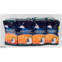 4 PACKS OF ALWAYS ULTRA THIN OVERNIGHT PADS
