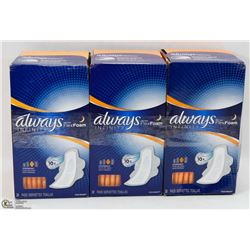 3 BOXES OF ALWAYS INFINITY FLEX FOAM PADS