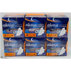 6 BOXES OF ALWAYS INFINITY FLEX FOAM PADS