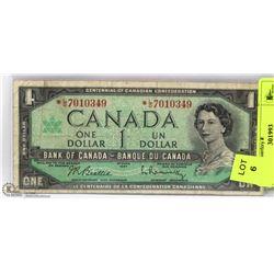 1967 CANADIAN CENTENNIAL REPLACEMENT $1.00 BILL