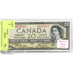 1954 CANADIAN DEVILS FACE $20 BILL