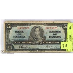 1937 CANADIAN $5 BILL