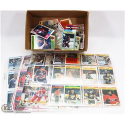 BOX OF ASSORTED HOCKEY CARDS.