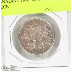 CANADIAN 1958 -50 CENT SILVER  PIECE
