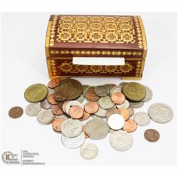 UKRAINIAN WOODEN BOX OF OLD COINS