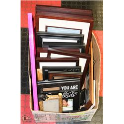 BOX FULL OF WOOD FRAMED PICTURE FRAMES