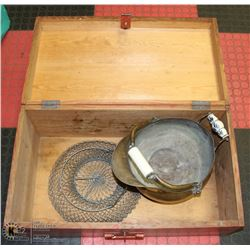WOOD LOCKABLE BOX WITH BRASS LION HANDLED  AND