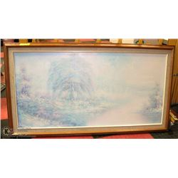 SNOW SCENE FRAMED OIL  ON CANVAS PICTURE
