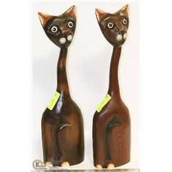 SET OF 2 LARGE BROWN CATS
