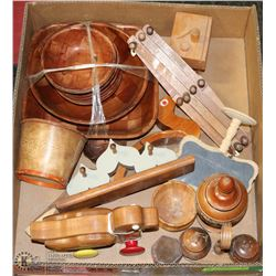 ESTATE BOX OF WOOD COLLECTIBLES INCL ROLLING DUCK
