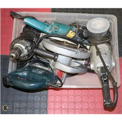 LOT OF POWER TOOLS INCL 2 GRINDERS, HD DRILL,