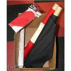 2 LARGE CANADA FLAGS, 1 NEW AND 3 ROLLS OF ART