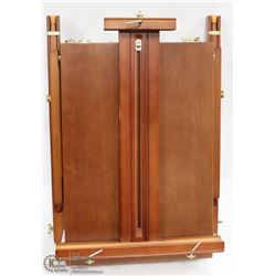 SOLID WOOD ARTIST EASEL W/ CARRYING STRAP.