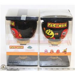 SET OF 2 NEW VINTAGE PAC-MAN DECORATIVE CUPS -
