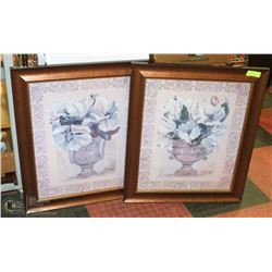 "SET OF 2 FLORAL PICTURES 24""X24"" EACH"