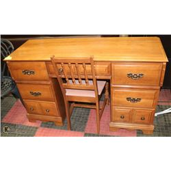 WOOD DESK AND CHAIR , DESK HAS 7 DRAWERS