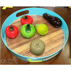 LARGE TRAY FILLED WITH GLASS FRUIT