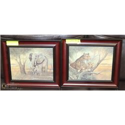 "SET OF 2 FRAMED AFRICAN ANIMAL SCENES - 13""WX12"""