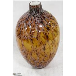 TALL WHITE CASCADED ART GLASS VASE