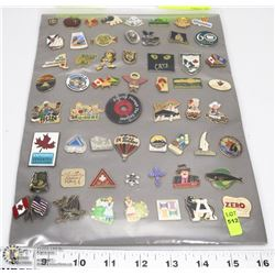 SHEET OF 57 PINS PROVINCE , COUNTRIES, STARS OF