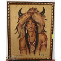 9) BUFFALO HUNTER ON BURLAP CHRIS TOFFERSEY PRINT