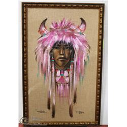 "5) ""MEDICINE MAN"" WITH PINK HEAD DRESS ON BURLAP"