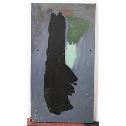152) ABSTRACT GREY BLACK BLOB. OIL ON CANVAS.