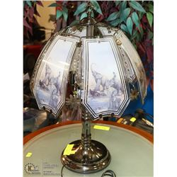 SILVER TOUCH LAMP WITH ELEPHANT MOTIF 3 WAY