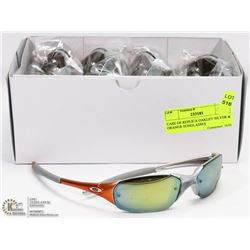 CASE OF REPLICA OAKLEY SILVER & ORANGE SUNGLASSES
