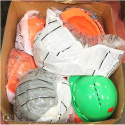 LARGE BOX OF ASSORTED COLOR HARD HATS