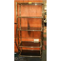BRASS AND SMOKED GLASS 5 SHELVING UNIT