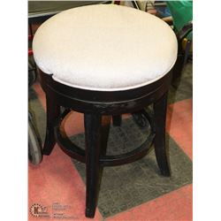 WOOD AND FABRIC SWIVEL BAR STOOL