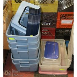 LARGE LOT OF ASSORTED STORAGE TOTES