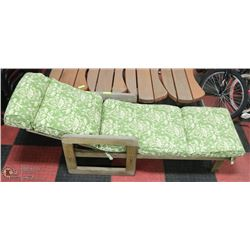 WOOD PATIO LOUNGE CHAIR SOLD WITH 4 BENCHES