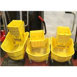 GROUP OF 3 COMMERCIAL MOP BUCKETS WITH WRINGERS