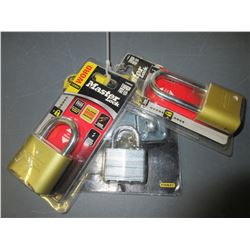 3 New Locks / 2 Master Locks combo locks  & 1 Stanley keyed lock