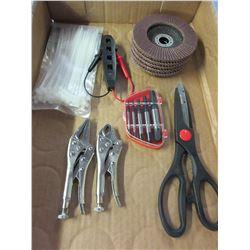 Value Bundle of New Tools / Flap Disks / Voltage Tester / Vise Grip mini