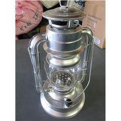 "New Metal 14"" Hurricane Lantern 21 LED Lights / uses very little energy/silver"