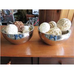 Pair of Decortive Bowls filled with Ocean reef décor