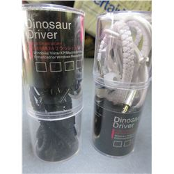 2 New Pair Dinosaur Driver Zipper Headphones / 1 black 1 white