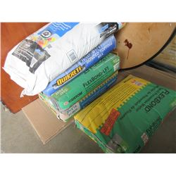 5 New  50lb Bags of Tile Morter / 1 bag is Glass Block Morter